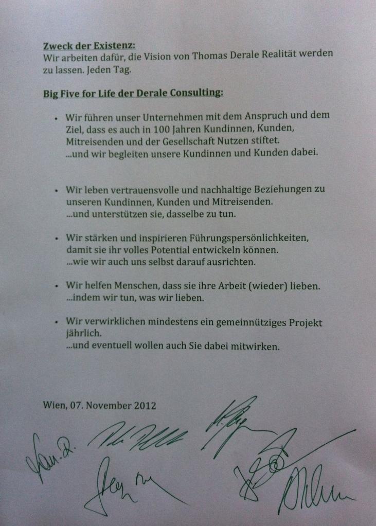 Die Big Five for Life der Unternehmensberatung DERALE Consulting, Hamburg und Wien