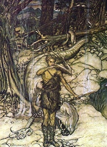 Siegfried trinkt das Drachenblut, Arthur Rackham, 1911